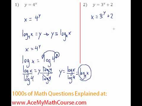 Exponents & Logs - Find the Inverse of Exponential Functions #1-2