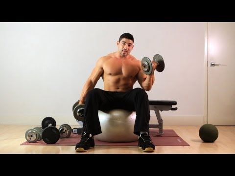 Swiss Ball Seated Curl | Home Arm Workout for Men