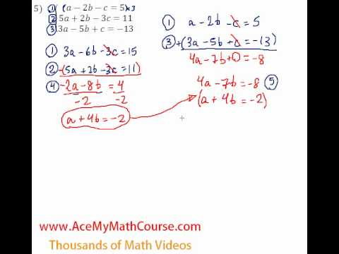 Systems - 3 Equations and 3 Variables #5