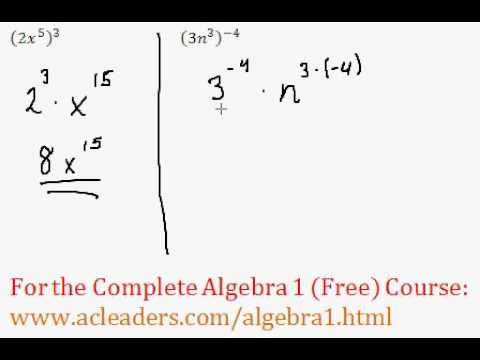 (Algebra 1) Exponents - Power Rule Questions #3-4