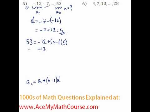 Arithmetic Sequences - Finding the Number of Terms #5-6