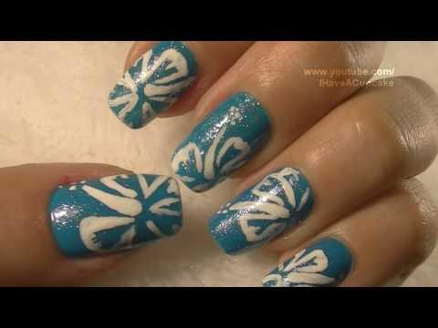 Simple Hibiscus Nail Art Tutorial / Arte para las unas de Flor Hibiscus