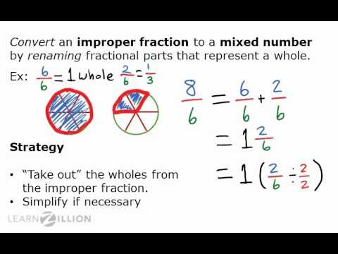 Convert improper fractions into mixed numbers by renaming - 5.NF.4
