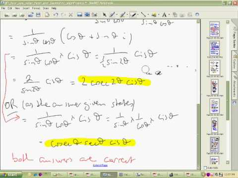 Basic Operations Polar Form of Complex Numbers Part 4