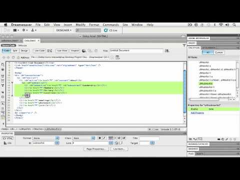 Adobe Dreamweaver CS5 WORKING WITH CSS Setting Up Navigational Items