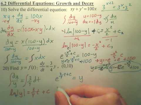 6.2a2 Differential Equations (Growth and Decay) - Calculus