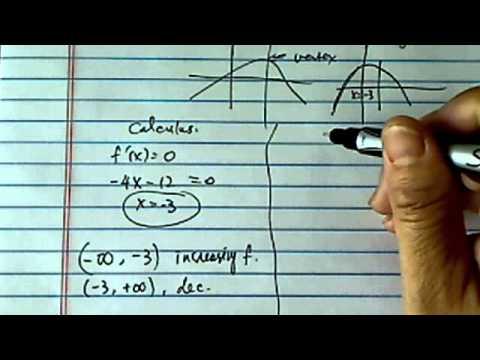Increasing, Decreasing Intervals:  f(x) = -2x^2 - 12x - 50