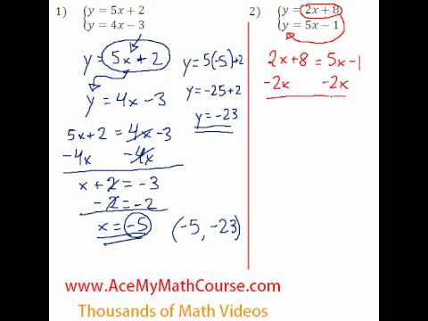 Solving Systems - Substitution Question #2