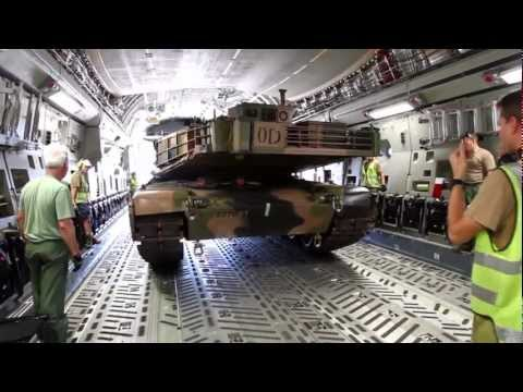Army M1A1 Abrams airlifted in an Air Force C-17A