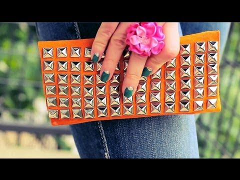 DIY Fashion : Suede Studded Clutch