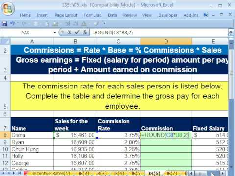 Excel Busn Math 39: Incentive Rate Formulas: 8 Examples