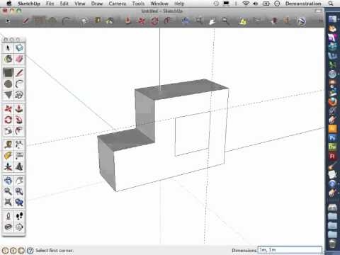 Sketch-Up Basics 5: How to push a hole through an object