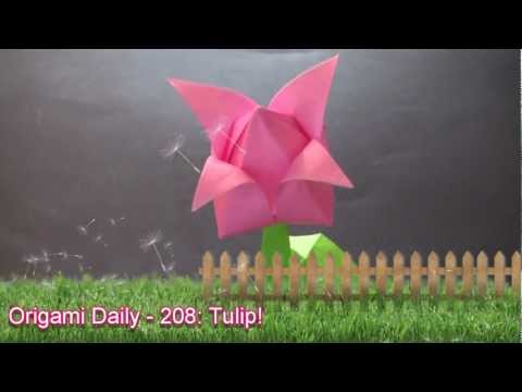 Origami Daily - 208: Tulip With Stem & Leaves - TCGames [HD]
