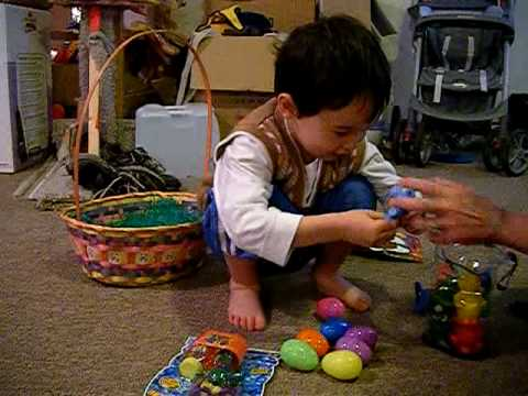 Kids at Easter with Baskets of Toys