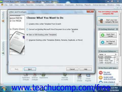 QuickBooks 2011 Tutorial Editing Letter Templates Items Intuit Training Lesson 24.2