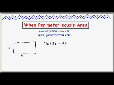 When does Perimeyter equal Area? (TANTON Mathematics)