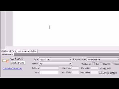 Dreamweaver CS4 Tutorial - 28 - Text Field Form Validation