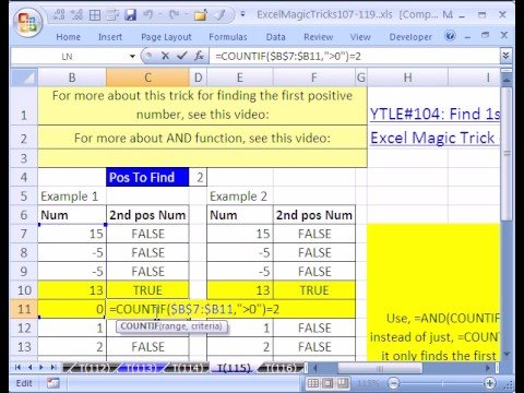 Excel Magic Trick #115: Find 2nd Positive Number