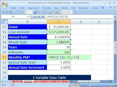 Excel Magic Trick 253: Data Table 1 Variable What If Analysis