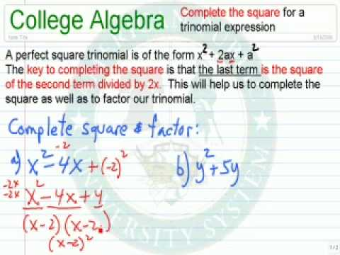 Complete the Square for a Trinomial