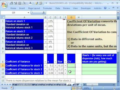Excel & Statistics 42: Coefficient of Variation