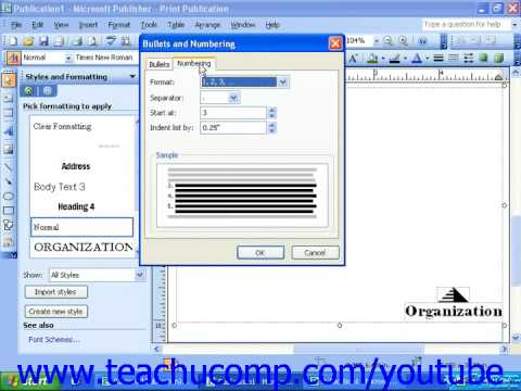 Publisher 2003 Tutorial Creating Custom Bullets and Modifying Numbering Microsoft Training Lesson 4.7