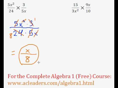 (Algebra 1) Rational Expressions - Multiplying #1-2
