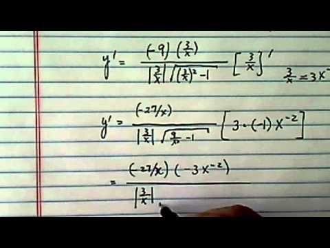 Derivative of inverse trig function: y = 9 arccsc(3/x) + 5, find dy/dx?