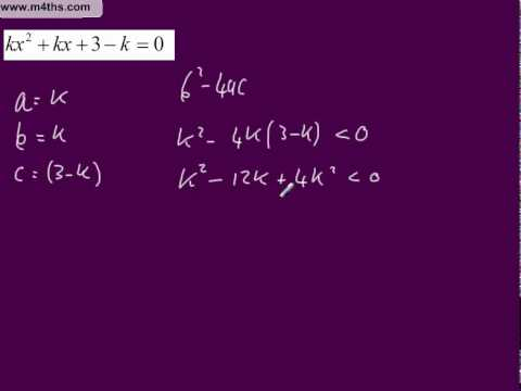 Core 1 Discriminant Exam question to find range of solutions for k