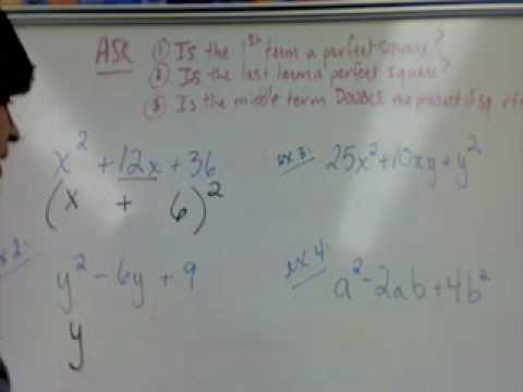 Factoring Perfect Square Trinomials Part 2