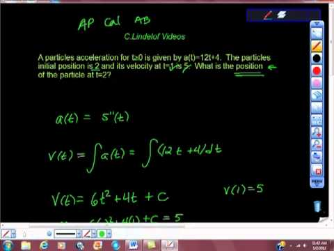 AP Calculus AB Review Problem Particle Motion Given Acceleration Function