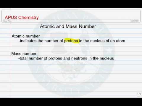 Atomic and Mass Numbers