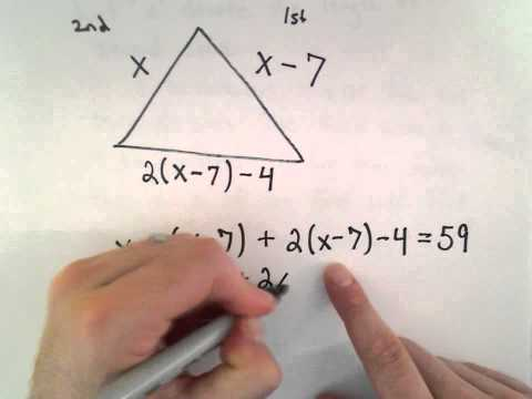 Linear Equation, Word Problem #4 : Side Lengths of a Triangle