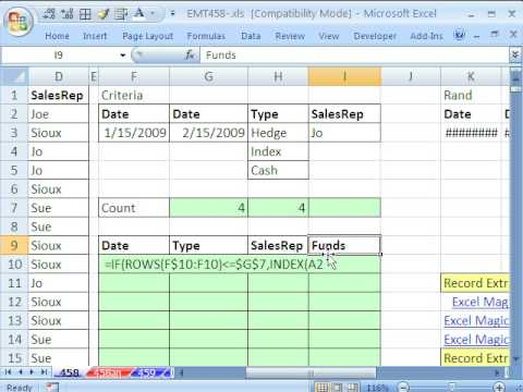 Excel Magic Trick 458: OR and AND criteria Together In Data Extract Array Formula Boolean Logic Math