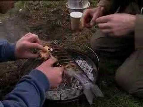 Urban chef cooking London wild fish in an outdoor barbeque - BBC