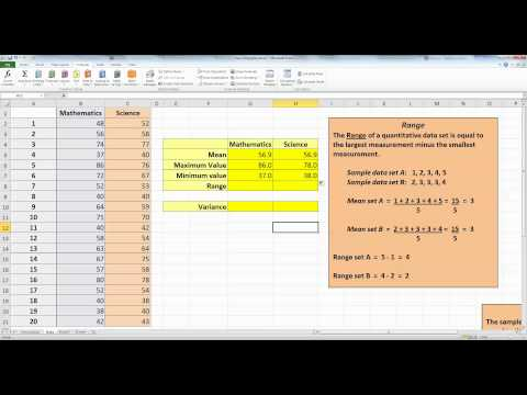 How To... Calculate Data Range and Sample Variance in Excel 2010