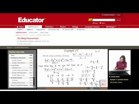 Algebra 2: Synthetic Division (Dividing Polynomials)