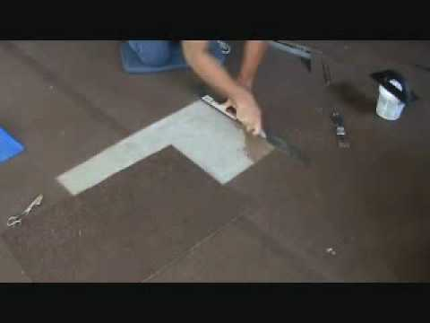Installing a gluedown carpet patch: checking the fit