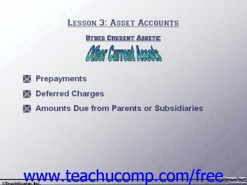 Accounting Tutorial Other Current Assets Training Lesson 3.6