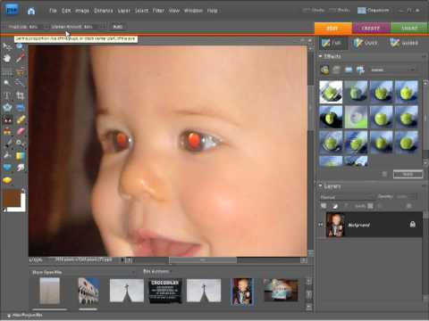 Photoshop Elements 7 Tutorial Video - Red eye removal