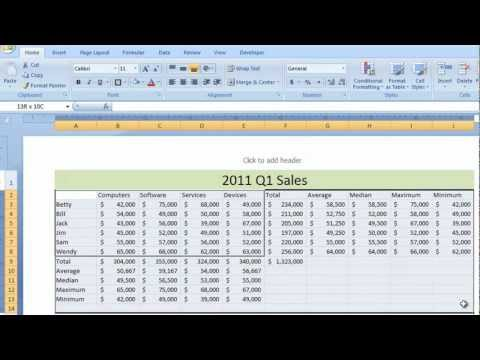 Excel 2007 Tutorial 5 - Function Worksheet Example - Sum Total Minimum Maximum Average Median