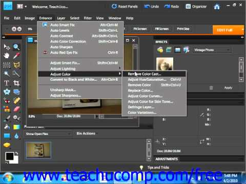 Photoshop Elements 9.0 Tutorial Removing Color Casts Adobe Training Lesson 14.6