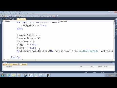 Visual Basic Express 2010 Tutorial 44 - Replaying The Game - EZInvaders Part 13 Video Game