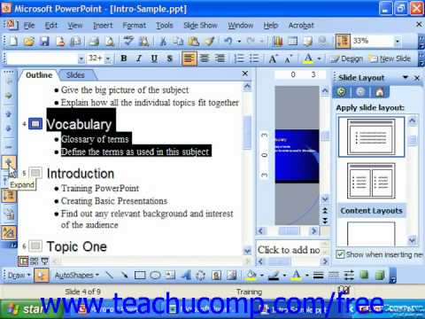 PowerPoint 2003 Tutorial Expanding & Collapsing Slides Microsoft Training Lesson 21.3