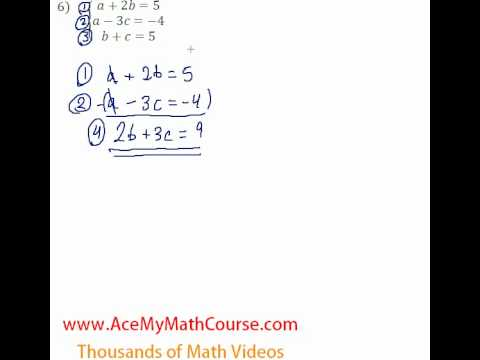 Systems - 3 Equations and 3 Variables #6