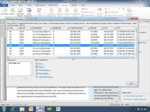 Filtering in a Mail Merge for Word 2010