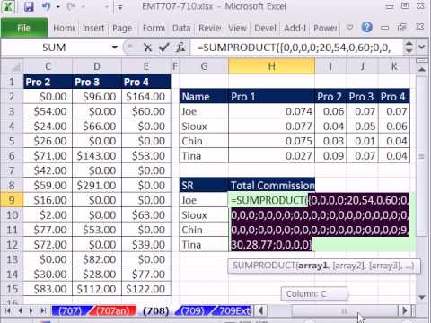 Excel Magic Trick 708: Lookup Multiplying -- SUMPRODUCT, Boolean, & INDEX MATCH solution