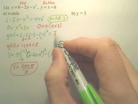 7.2 Volume - Disk Methond Practice A - Calculus