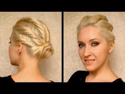 Party hairstyle for prom, wedding Twisted bridesmaid updo for medium long hair tutorial Cute easy