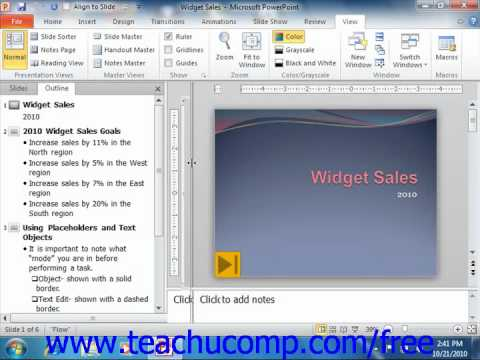 PowerPoint 2010 Tutorial Normal View Microsoft Training Lesson 3.1